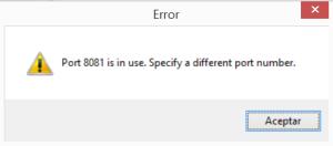 error puerto en uso
